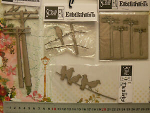 CHIPBOARD-Die-Cuts-BIRDS-Sitting-Electricity-Poles-4-item-Choice-Scrap-FX-G