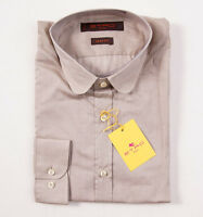 $350 Etro Milano Superfine Beige Cotton Shirt 37/s Button-front + Gift Box