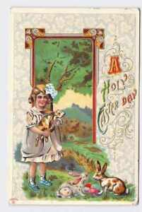 ANTIQUE-POSTCARD-EASTER-BUNNY-RABBIT-GIRL-WITH-BOW-EGGS-ANTIQUE-HOLY-EASTER-DAY