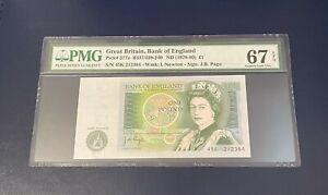 PMG 67 EPQ - GB One Pound Note - 1978-1980 - J.B. Page - £1 - SUPERB GEM UNC