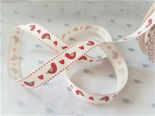 2 colours various lengths Bertie/'s Bows FOLK BIRD /& HEART grosgrain ribbon 16mm