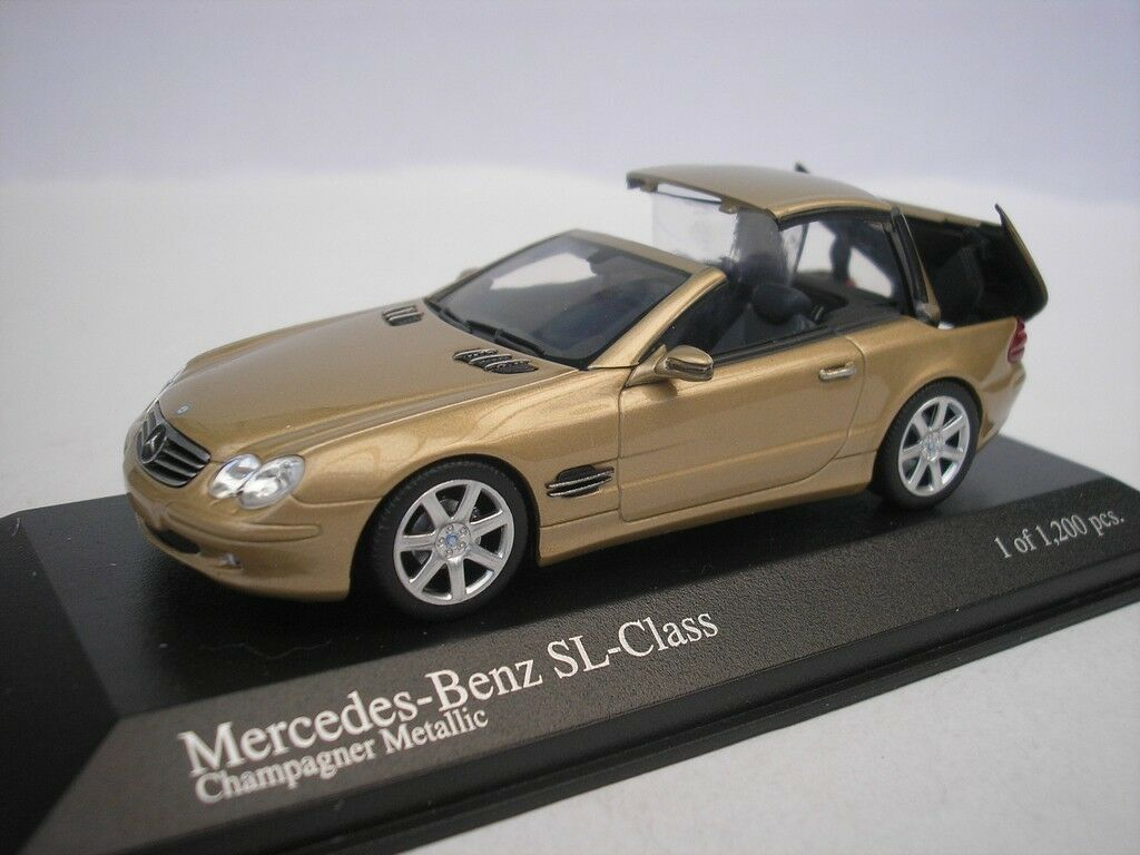 Mercedes Benz SL class 2001 oro metalizado with Movable roof 1 43 Minichamps nuevo