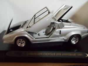 1 18 Ricko 1989 Lamborghini Countach Silver 25th Anniversary Diecast