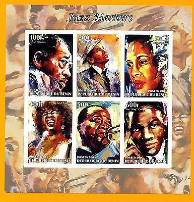 JAZZ MASTERS 2003 Du Benin Stamp Block Sheet; imperf; Sinatra Billie Holiday