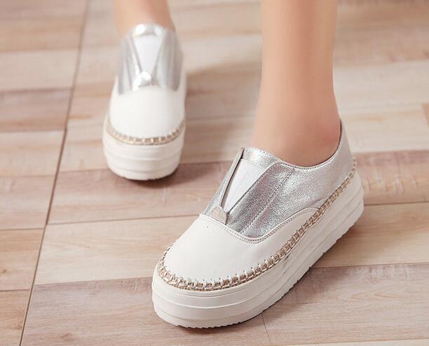 Bailarinas mocasines  blanco Zapatos  de tacón mujer 4 blanco  plata como piel cómodo 8024 047bf2