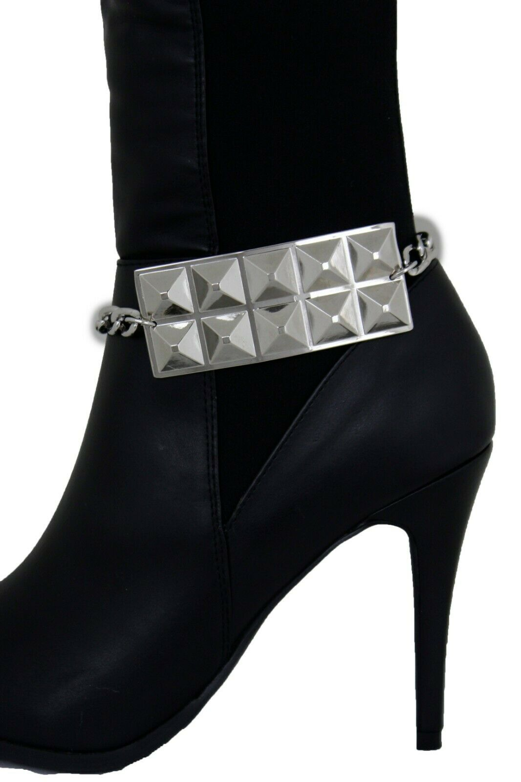 Women Boot Bracelet Silver Metal Chain Biker Bling Anklet Studs Plate Shoe Charm
