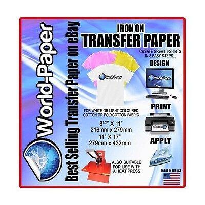 "50 sheets 8.5""x11"" Light Fabric Ink Jet Transfer Paper"
