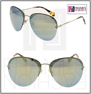 e7c9a7736 MIU MIU 53P Aviator Sunglasses SO FRAME Pale Gold Emerald Green ...