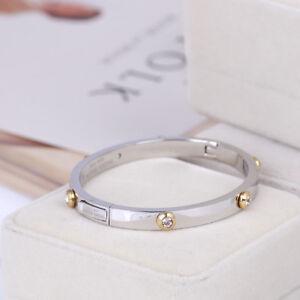 Henri Bendel Silver Rivet Logo Crystal Bangle Bracelet Petite Ebay