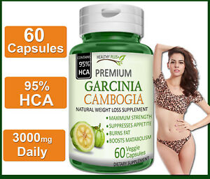60-Capsules-GARCINIA-CAMBOGIA-95-HCA-PURE-Fat-Burn-Slim-Weight-Loss-Natural