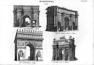 Stampa antica architettura arco trionfale a milano roma for Architettura a parigi