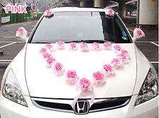 Set of 28 Flowers Wedding car Heart Rose Decorations kit Pink bow set