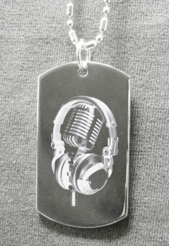 """Head Phone /"""" Engraving Necklace Tag /"""" Available Ur text Mic"""
