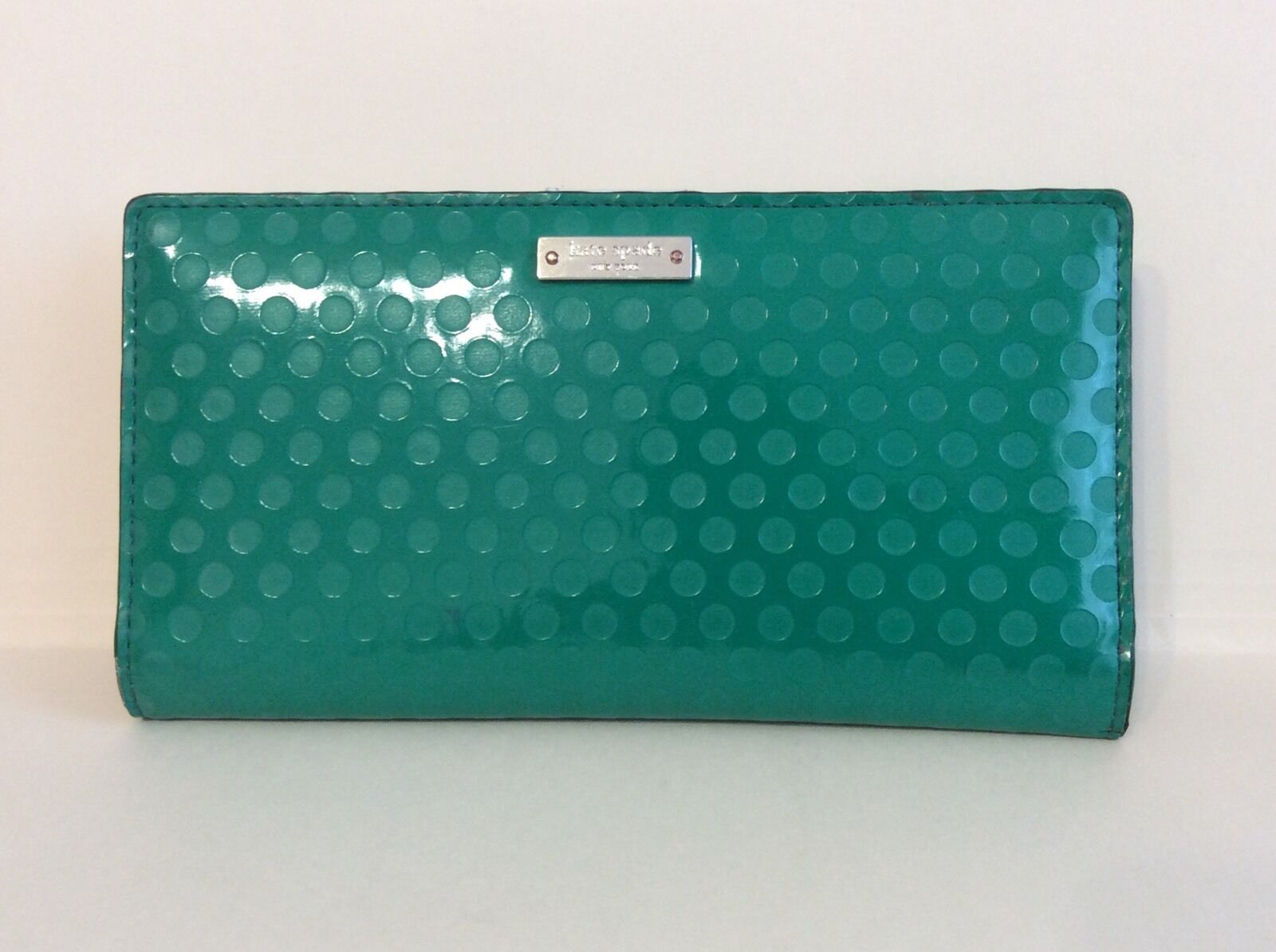 KATE SPADE Stacy Cobble Hill Green Patent Wallet Coin CREDIT CARD LEATHER