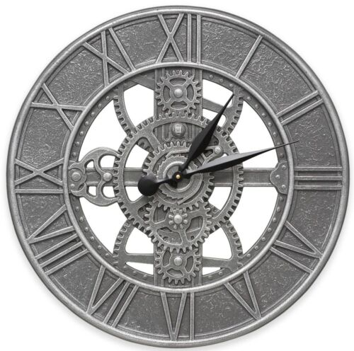 Silver Gear Wall Clock Rustic Vintage Charm In or Outdoor Home Art Decor Large