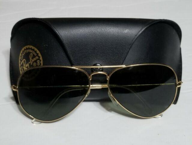 RAY BAN BAUSCH & Lomb Vintage Black Aviator 62mm Sunglasses