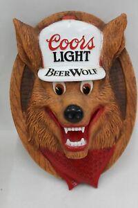 Coors-Light-Hanging-3D-Beerwolf-Vintage-Wall-Display-Sign-Plaque-14-034-x-10-034
