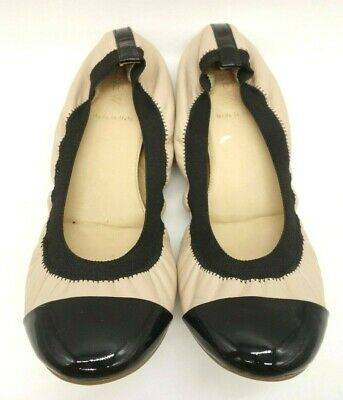nude and black ballet flats