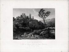 Stampa antica ARICCIA veduta panoramica Roma da Gaspard Poussin 1840 Old print