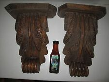 PAIR LARGE HAND CARVED WOODEN CORBELS WALL SHELF BRACKETS Brown Antique/Vintage?