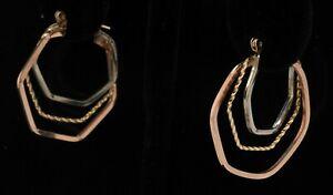 Vintage 14K tri-color gold elegant high fashion multi-hoop earrings