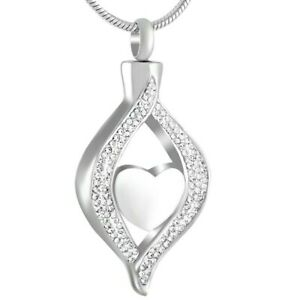 Silver-Teardrop-Heart-Cremation-Urn-Pendant-Ashes-Necklace-Funeral-Memorial-UK