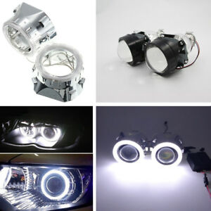 2x-2-5-BI-xenon-Projectors-with-shroud-Light-Guide-Angel-Eye-Headlight-Kit-H4-H7