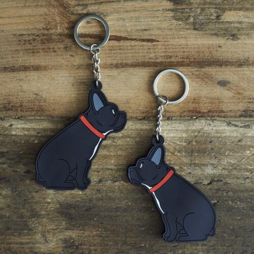 Cute FRENCH BULLDOG Keyring, Novelty Gift, PVC Dog Key Ring, Bag Charm, FREE P&P