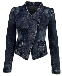 Women-039-s-Juniors-Long-Sleeve-Denim-Blazer-Fitted-Jacket