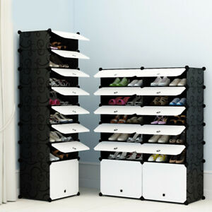 White-Door-Cube-DIY-Shoe-Cabinet-Rack-Storage-Portable-Stackable-Organiser-Stand