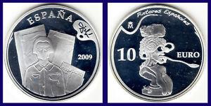 10-SILVER-EUROS-SPAIN-PLATA-ESPANA-2009-DAL-RETRATO-DE-PICASSO-PROOF