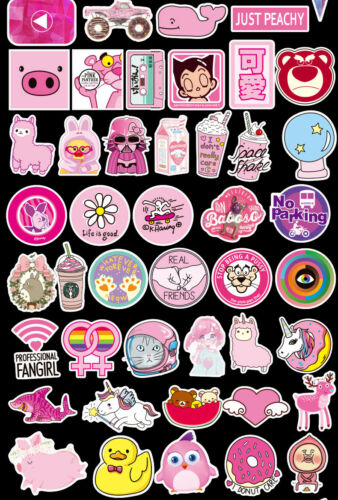 100pc Pink Lovely girl waterproof Graffiti Sticker Luggage Decal Ornament Mark