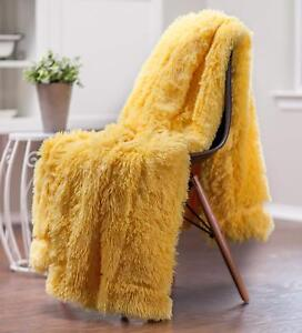 Details About Modern Large Gy Light Super Soft Yellow Peach Color Faux Fur Throw Blanket