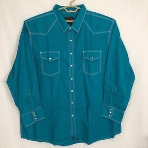 High-Noon-Mens-Western-Shirt-Blue-Long-Sleeve-Pockets-Pearl-Snap-Big-amp-Tall-3XL