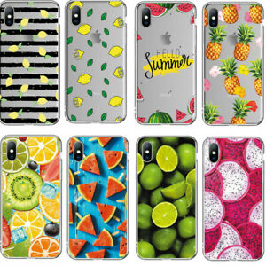 For-iPhone-XS-Max-XR-X-8-7-6s-Plus-Slim-Soft-Clear-Fruit-Painted-TPU-Case-Cover