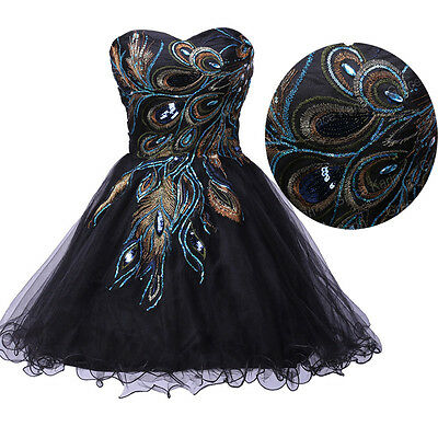 PEACOCK ~ Bridesmaid Masquerade Ball Gown Evening Party Short/Mini Prom Dresses