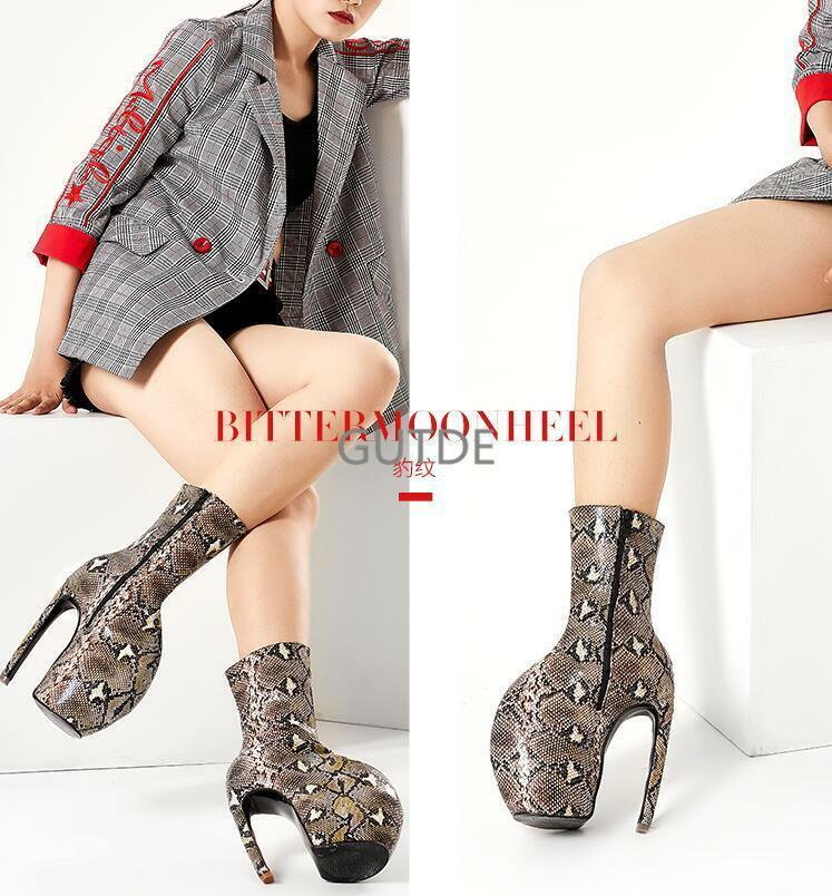PunkSchlange Fashion Damen hoher Stiletto Plateau Stiefel Catwalk Bühnenschuhe