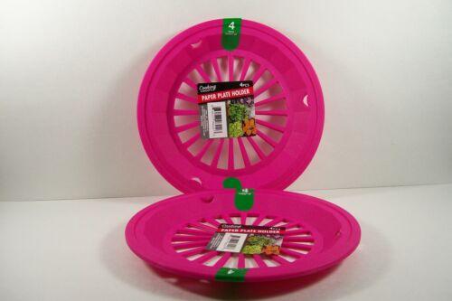 "9/"" Paper Plate Holders Pink//Fuschia Camping RVs Picnics BBQs Set of 8 FREE SHIP"