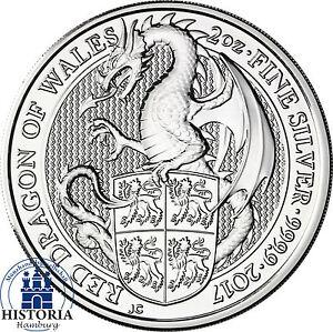 The-Queen-039-s-Beasts-2017-Drache-von-Wales-2-Oz-Silbermuenze-5-Pfund-Grossbritannien