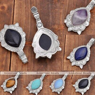 Natural Gemstone Marquise Turtle Shape Magnet Clasp Pendant Beads Fit Necklace