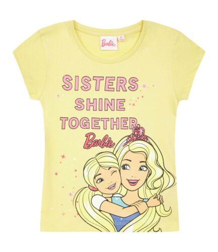 Filles Enfants Enfants Barbie à manches courtes T-shirt Tee tshirt Haut Âge 2-8 Ans