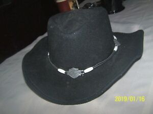931f94154 Details about Harley Davidson Logo Band Bend-A-Brim Wool Felt Crushable  Cowboy Hat Black Small