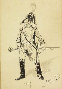 Zeichnung-Antik-Militaer-Du-Regiment-Empire-Napoleon-1809-Unterzeichnet-Kostuem