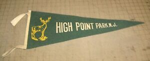 "Vintage HIGH POINT PARK, NJ 23.5"" 4-Tassel Green Pennant - w/Deer Logo SUSSEX"
