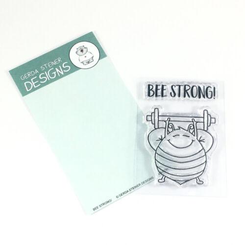 """Biene beim Gewicht heben Clear Stamp Stempel /""""Bee Strong/"""" Gerda Steiner"""