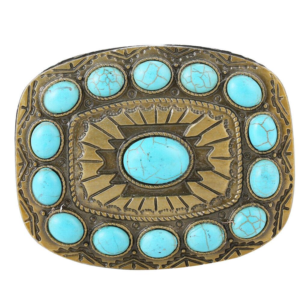 Retro Cowboy Rodeo Turquoise Bead Belt Buckle Classic Bronze Tone Buckles