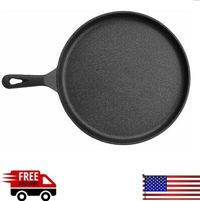Cast Iron Griddle Pan Pre Seasoned Skillet Cookware for Stovetop Oven Broiler