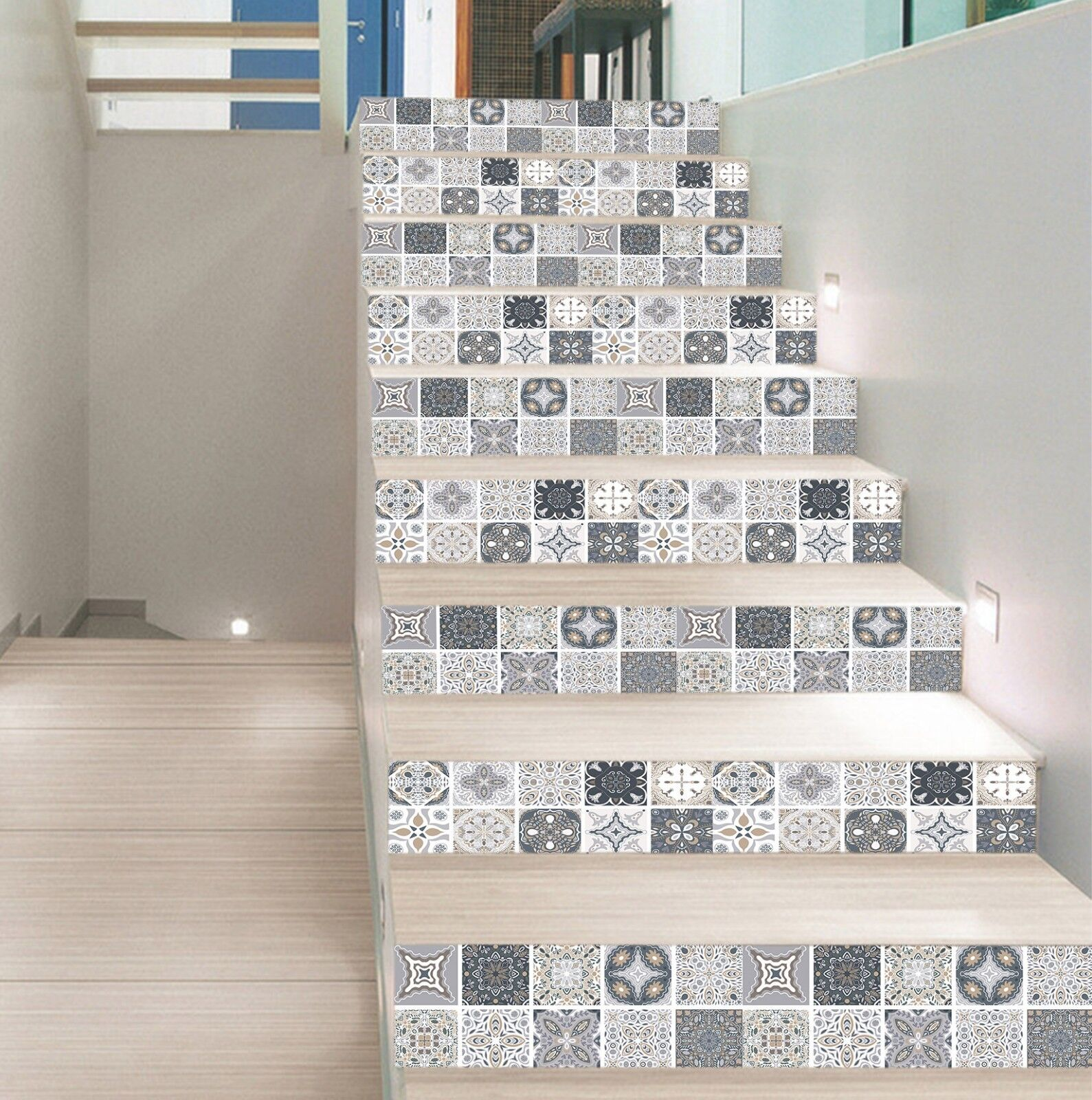 3D Complex Pattern 89 Tile Marble Stair Risers Photo Mural Vinyl Decal Wallpaper