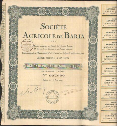 N SAIGON INDOCHINE Société Agricole de BARIA