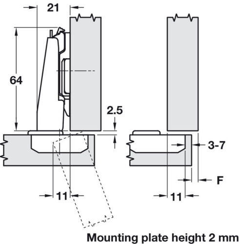 Click On Arm 1 x Grass Nexis Sprung Concealed Cup Hinge 110° Full Overlay Mount